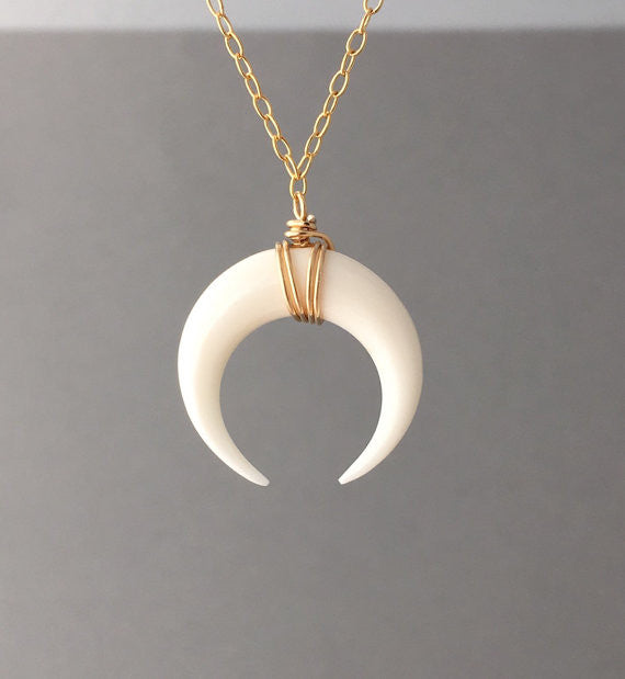 White Bone Double Horn Necklace // Crescent Moon