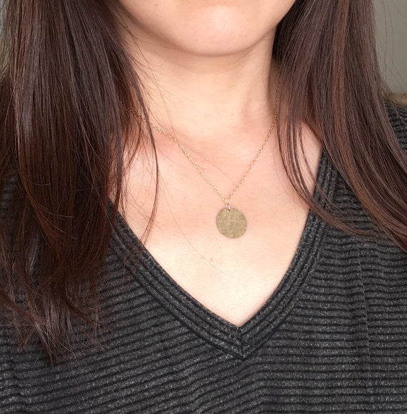 3/4 INCH Gold Fill Hammered Disc Circle Necklace