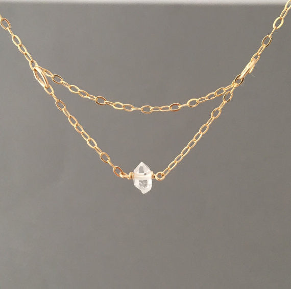Tiny Solitaire Layered Herkimer Diamond Necklace