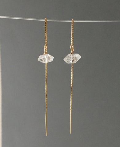 Herkimer Diamond Box Chain Threader Earrings