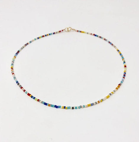 Colorful Seed Bead Gold Fill Necklace