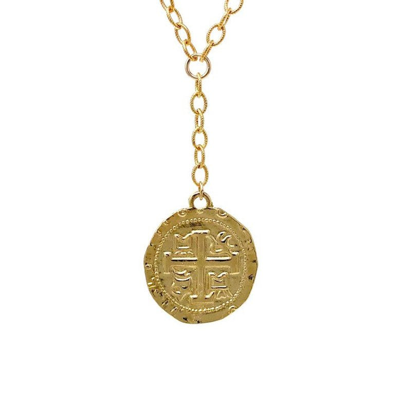CROSS Ancient Gold Coin Pendant LARIAT Necklace