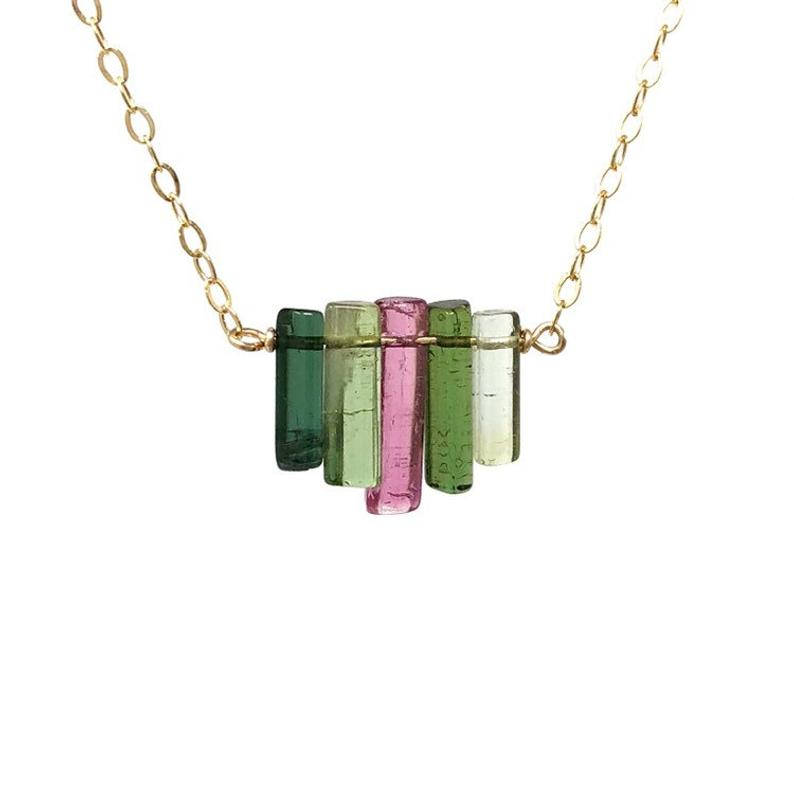 Tourmaline Bar Graduated Necklace
