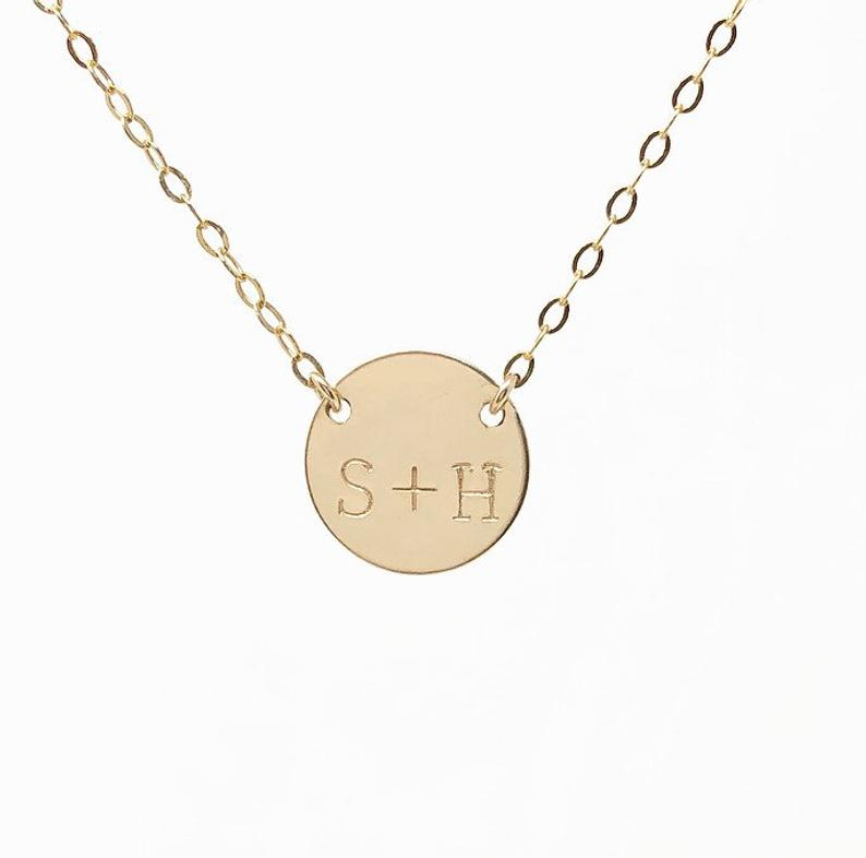 Double Connected Stamped Initial Disc Necklace