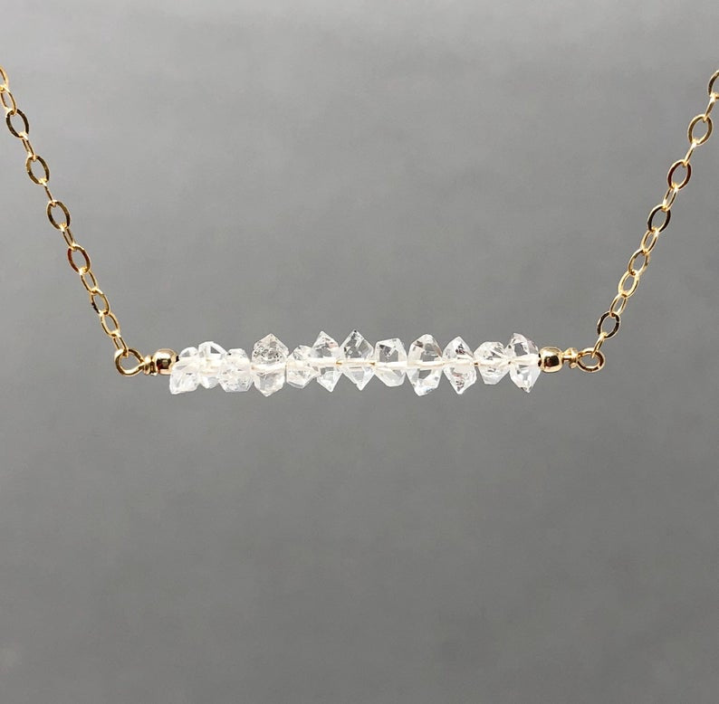 Herkimer Diamond Straight Bar Necklace