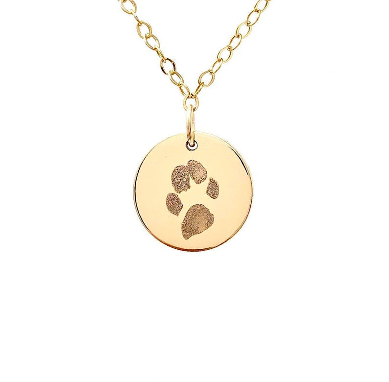 ENGRAVED PAW PRINT Gold Fill Disc Necklace also in Rose Gold and Sterling Silver