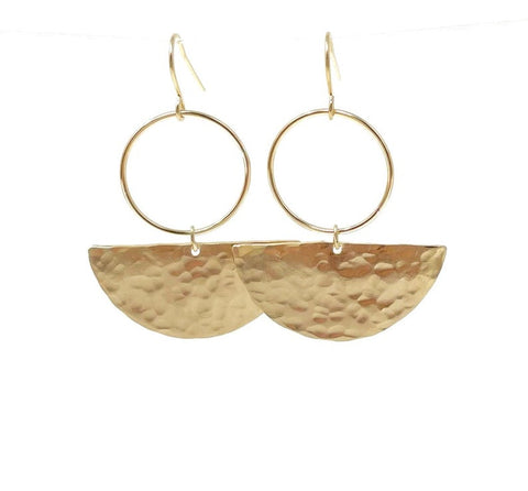 Hammered Gold Half Disc Hoop Earrings also in Sterling Silver