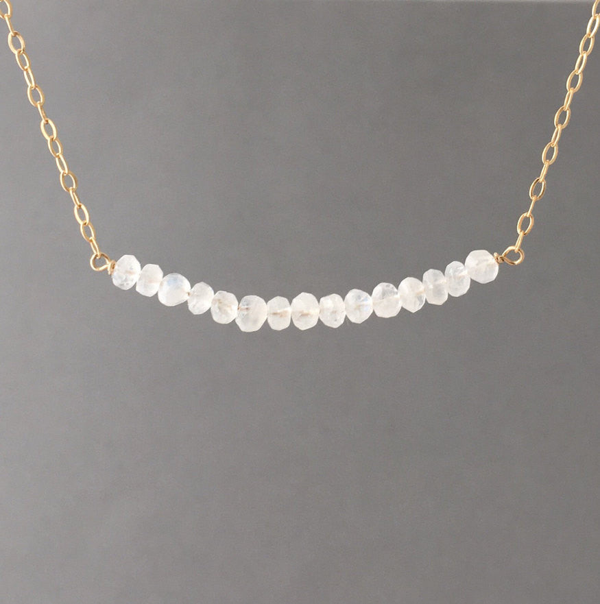 Moonstone Curved Beaded Necklace