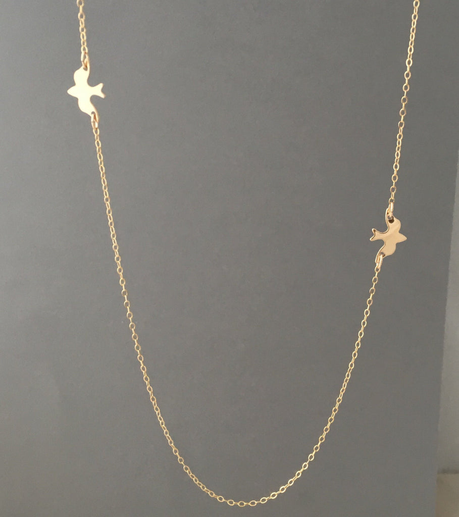 Two Doves Gold Fill Necklace also in Silver and Rose Gold Fill