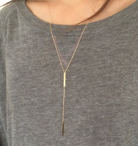Double Bar Y Lariat Drop Necklace