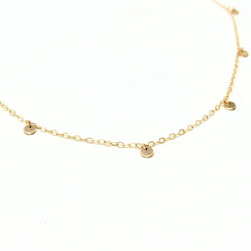 Tiny Dot Disc Gold Fill Necklace