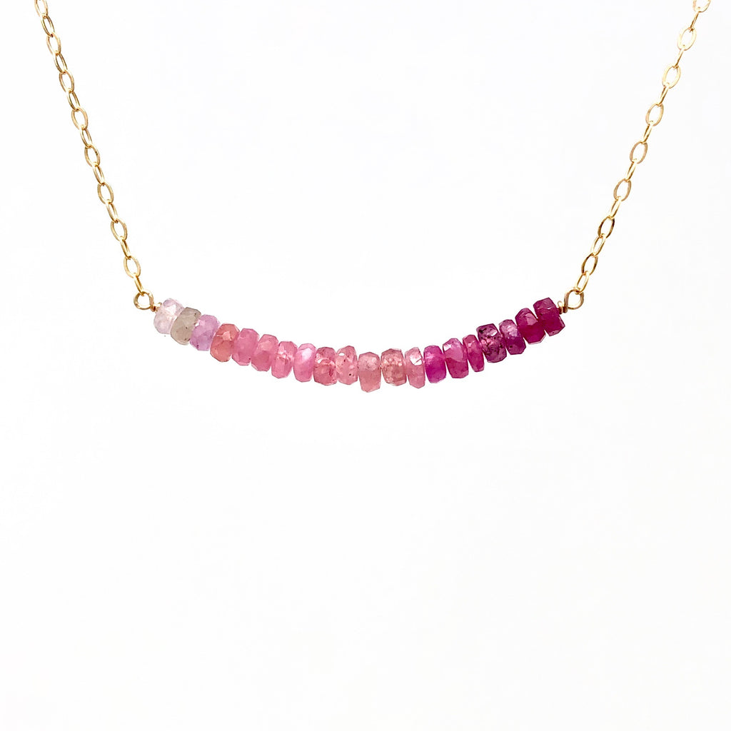 Real Pink Sapphire Ombre Beaded Necklace