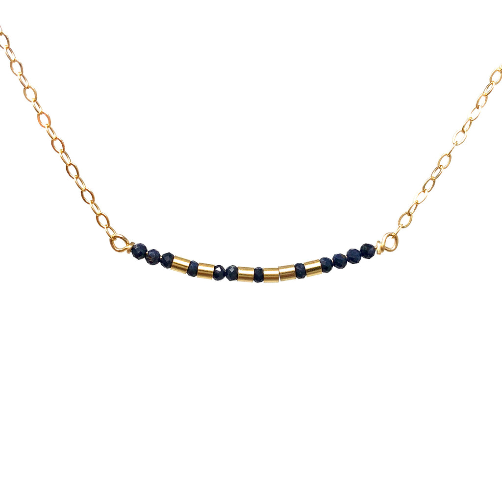 BLUE SAPPHIRE Small Bar Morse Code Necklace
