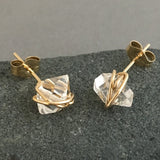 Wire-Wrapped Herkimer Diamond Post Earrings in Gold Fill, Rose Gold Fill, or Sterling Silver