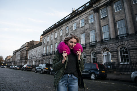 Charbourr Edinburgh blogger in pink popski parka from bsicuit clothing