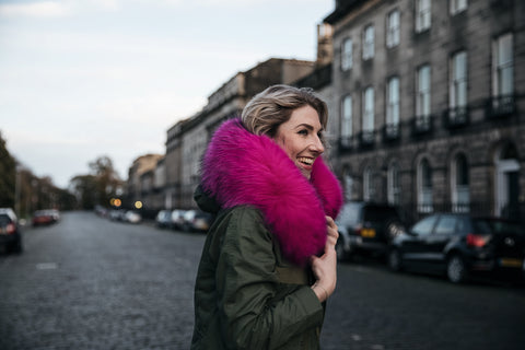 charbourr blogger in fuchsia fur trim parka popski jacket