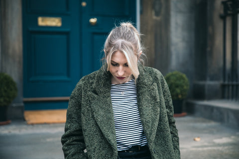 Charbourr in yaya green boucle coat