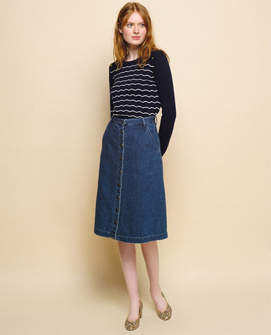 Des Petits Hauts Lupsi Denim Skirt blue midi knee length
