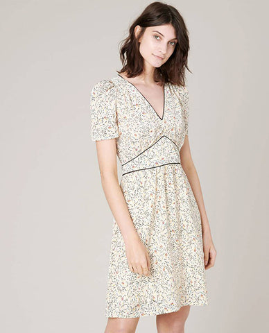 Sessun Jimama Fiorelino Ecru Dress electric piping tea dress