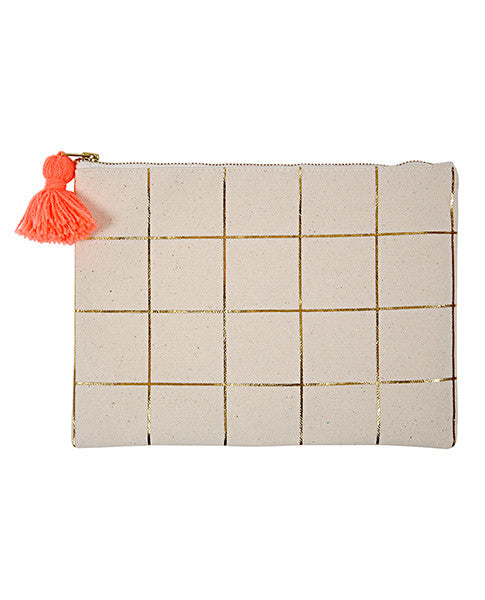 Meri Meri Gold Foil Grid Canvas Pouch | Biscuit Clothing