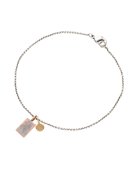 Yaya Silver Charm gift Bracelet, small silver chain with lobster clasp fastening and two tiny hanging charms. plated brass | Biscuit Clothing Edinburgh