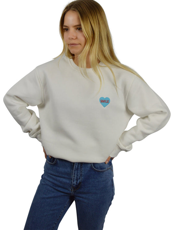Bezo White Love Smile Sweatshirt