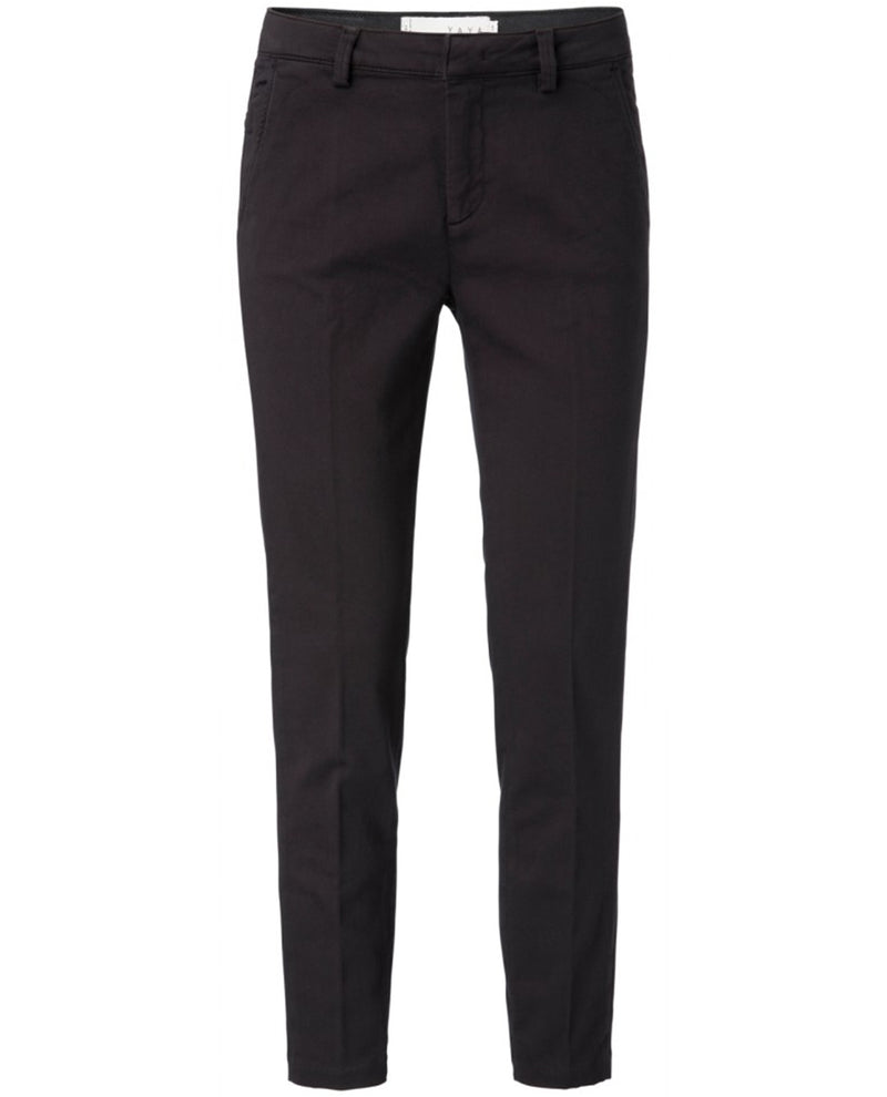 Yaya Basic Black cotton Chino trousers