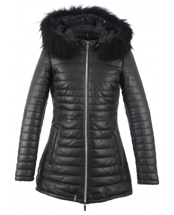 Oakwood Poppy Luxe Black leather fur quilted ski Jacket