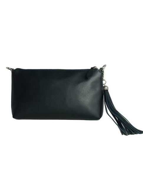 Fioriblu ladies Italian Leather Black Evening Clutch Bag Purse | Biscuit Clothing Edinburgh