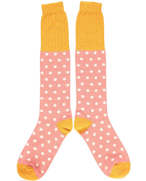 Catherine Tough Blush Oat Dot Lambswool Knee Socks