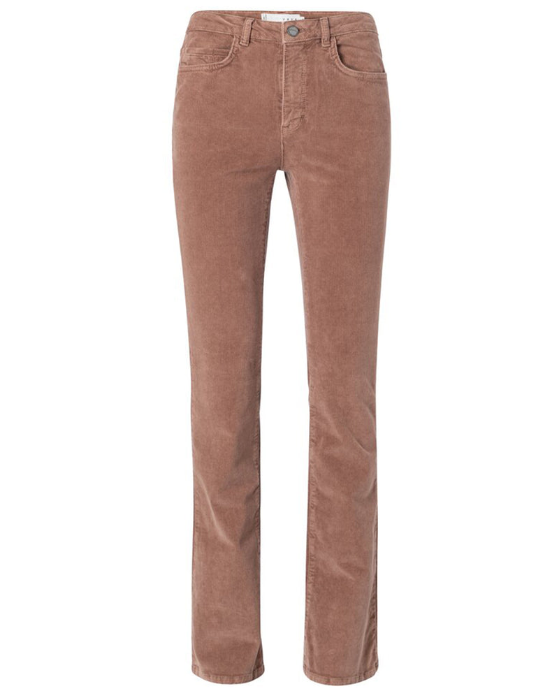 Yaya Chocolate Ribbed Flare Trousers