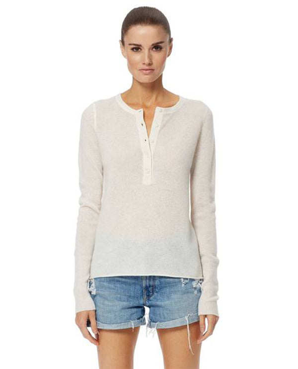 360 Cashmere Carissa White Button Knit