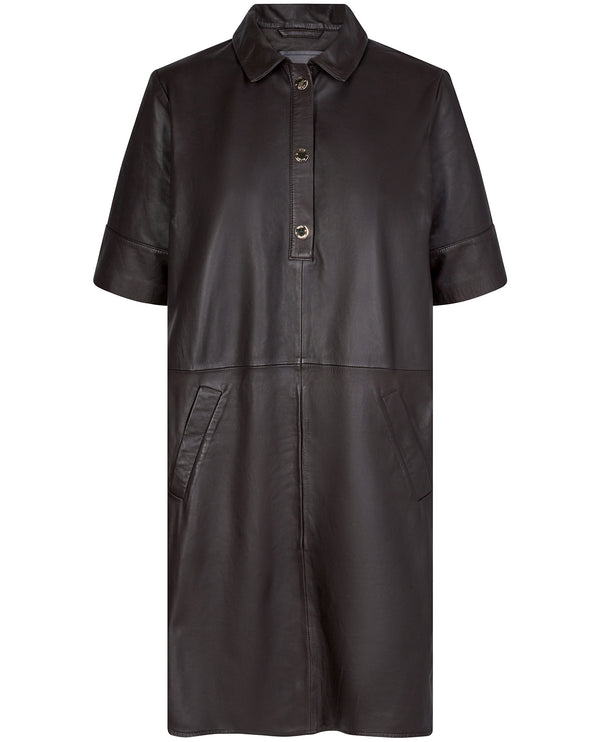 Mos Mosh Ester Brown Leather Dress