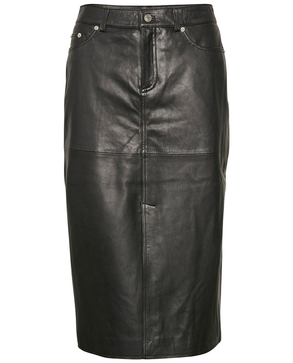 Part Two Fadila Black Leather Skirt