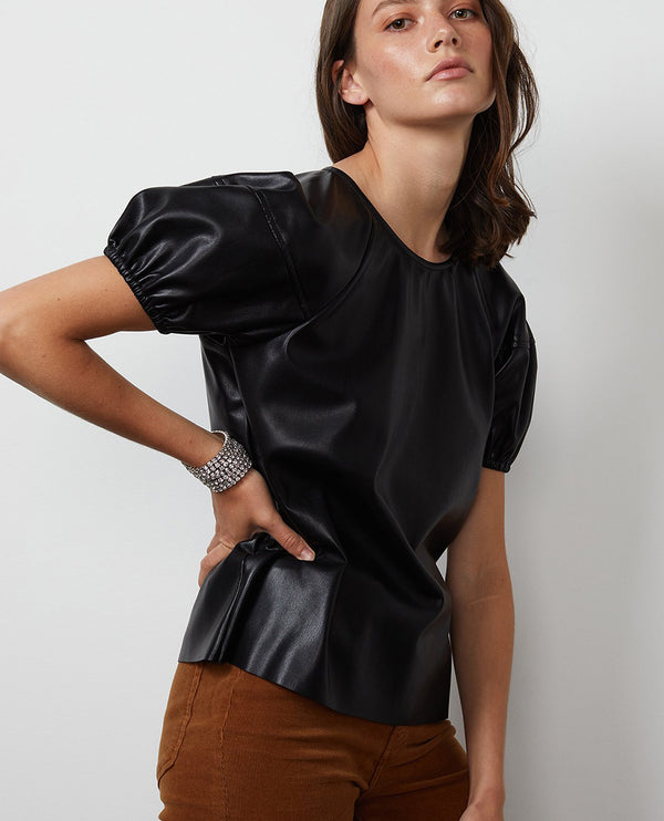 Velvet Foley Black Faux Leather Top