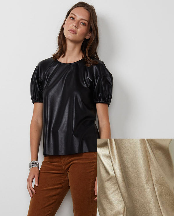Velvet Foley Metallic Faux Leather Top