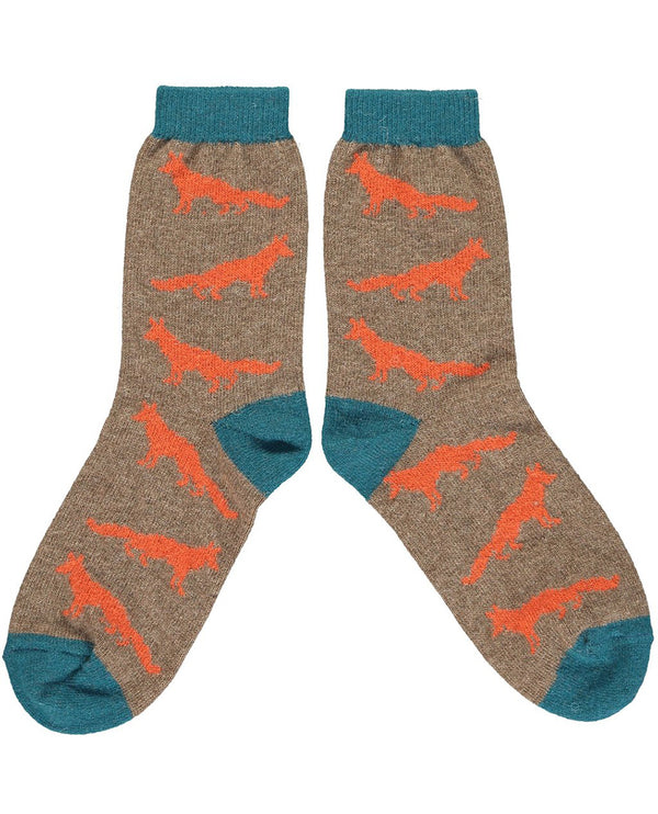Catherine Tough Orange Fox Lambswool Ankle Sock