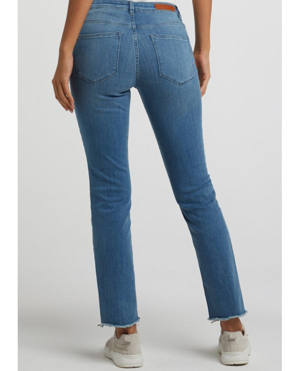 Yaya Blue Denim Frayed Hem Jeans