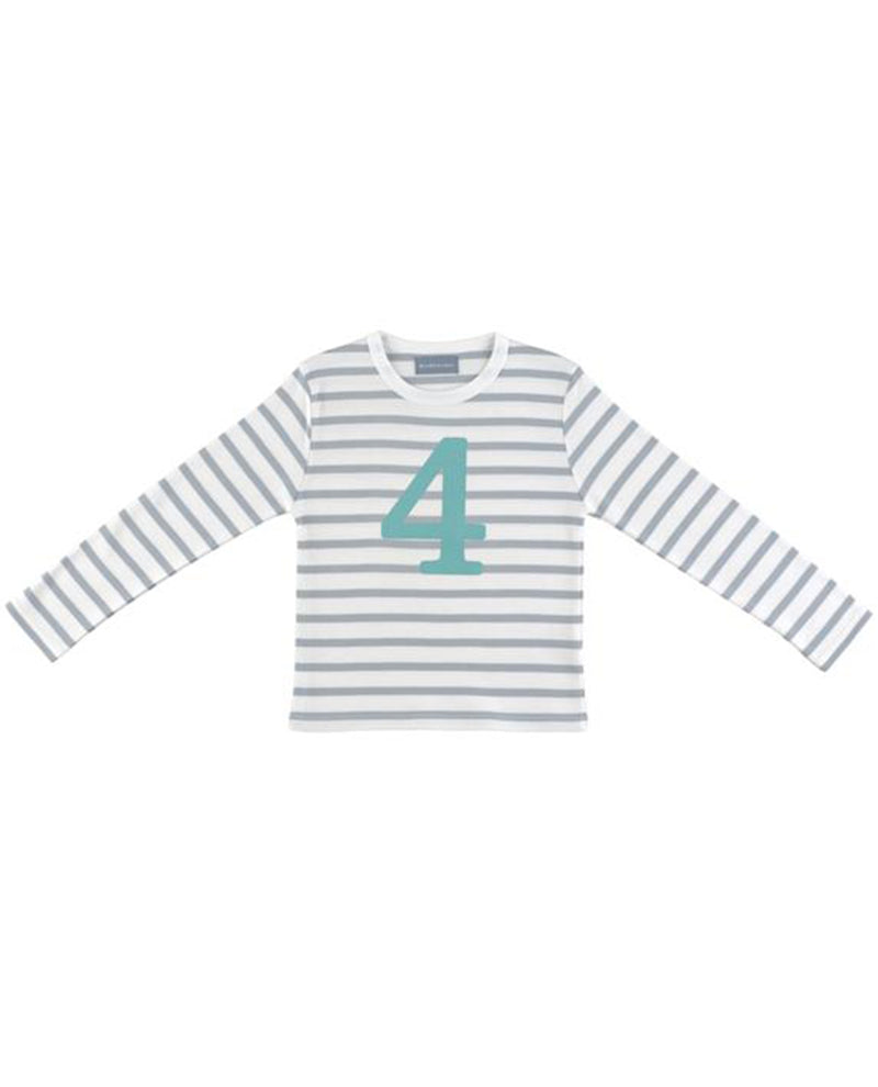 Bob and Blossom Grey and White Striped Turquoise Number T-Shirt