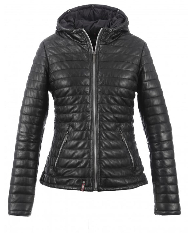 Oakwood Happy All Black leather quilted thinsulate ski coat Jacket