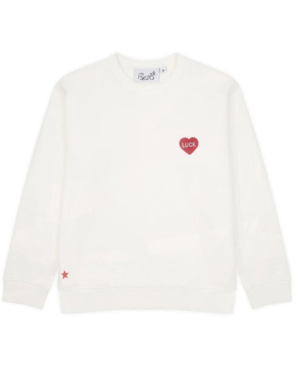 Bezo White Love Luck Sweatshirt