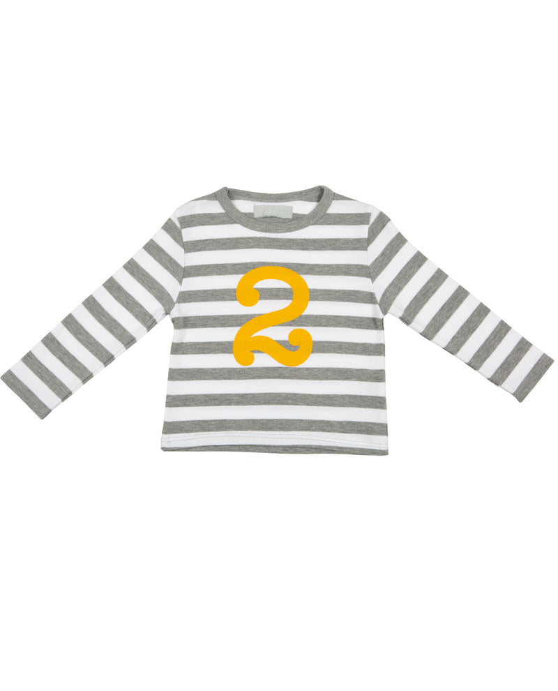 Bob and Blossom Grey Marl and Mustard Striped Number T-Shirt