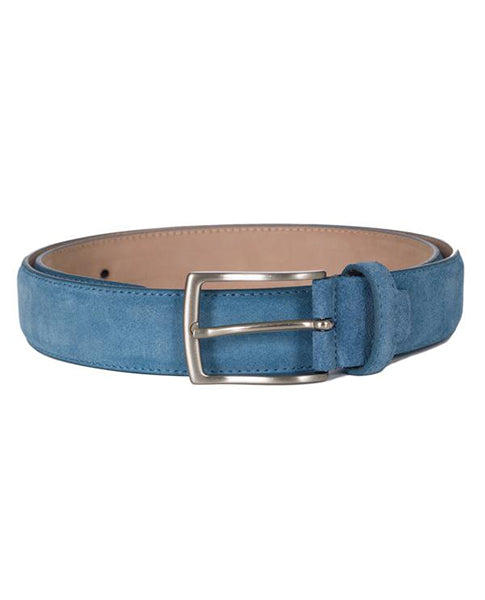 Fioriblu Papavero Ladies gents unisex mid light plae blue suede leather belt | Biscuit Clothing