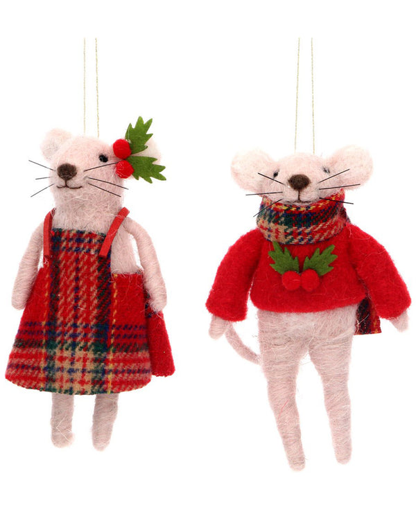Gisela Graham Wool Mouse Decoration