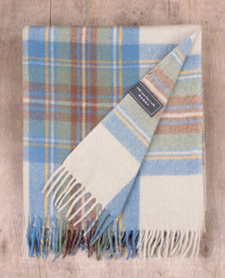 Tartan Blanket Co. Recycled Wool Stewart Muted Blue Blanket