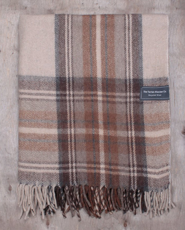 Tartan Blanket Co. Recycled Wool Natural Stewart Blanket
