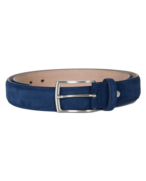 Fioriblue Navy Blue Ladies gents Unisex Leather Suede Italian Belt  | Biscuit Clothing Edinburgh