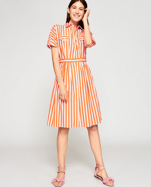 Tara Jarmon Orange Stripe Shirt Dress
