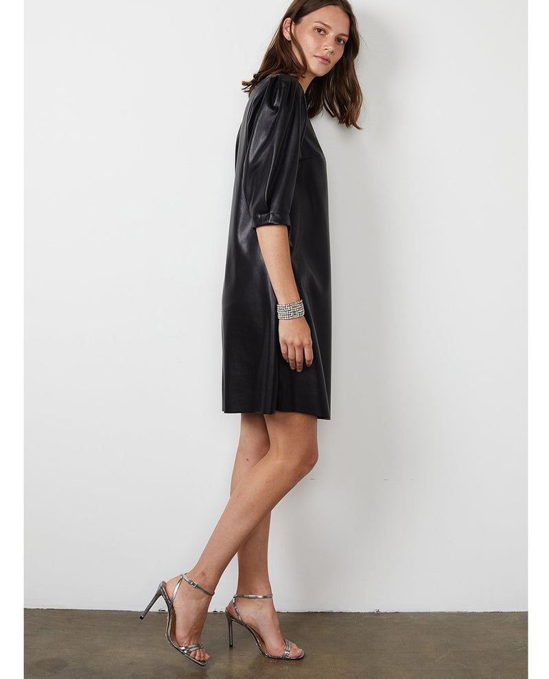Velvet Pam Black Faux Leather Dress