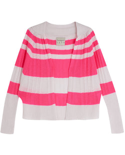 Jumper1234 Pink Stripe Cable Cardigan